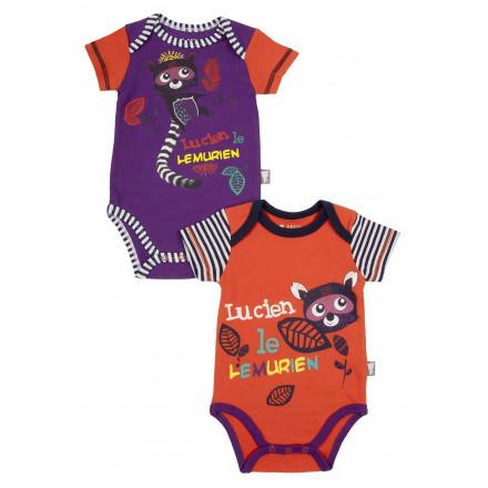Lot de 2 bodies bébé garçon manches courtes Lemurien