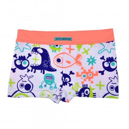 Boxer de bain garçon orange Funny Fish
