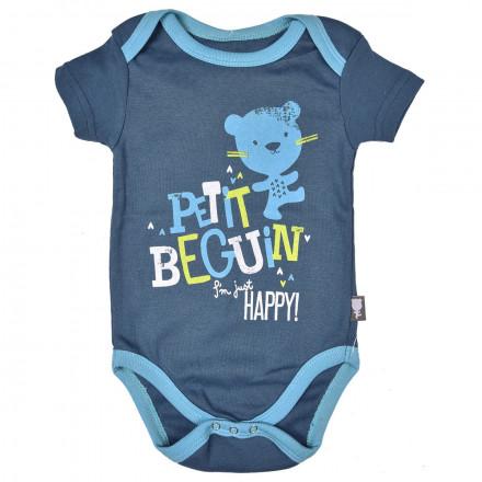 Body bébé garçon bleu jean Happiness