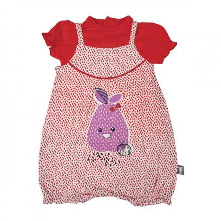 Barboteuse + t-shirt bébé fille rouge Pépin