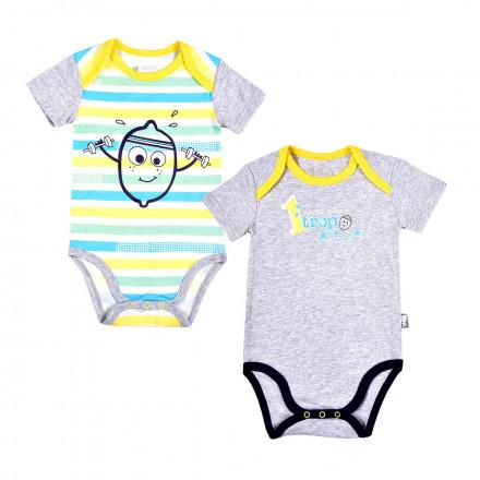 Lot de 2 bodies manches courtes bébé garçon Petit Citron