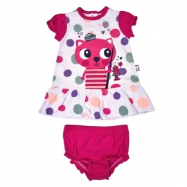 Ensemble robe + bloomer bébé fille Minouche