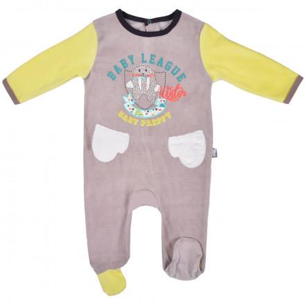 Grenouillère bébé garçon gris Wapi