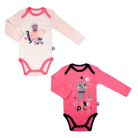 Lot de 2 bodies bébé fille manches longues Cosmo Party