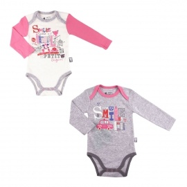 Lot de 2 bodies bébé fille manches longues Smile girl
