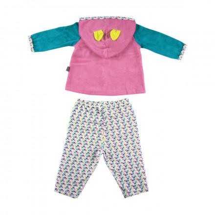 Ensemble bébé fille haut à capuche + pantalon Hihi