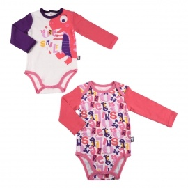 Lot de 2 bodies bébé fille manches longues More Smile
