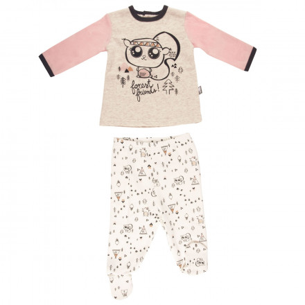 Ensemble bébé fille t-shirt + pantalon Forest Friend