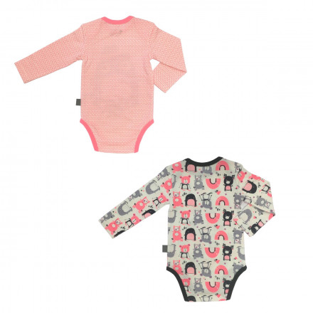 Lot de 2 bodies bébé fille manches longues Artic Bird