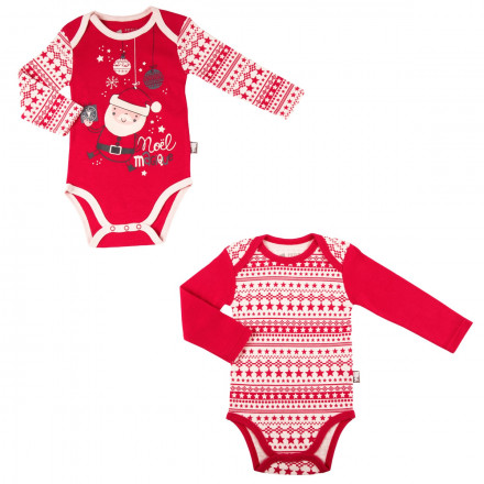 Lot de 2 bodies bébé mixte Super Noël