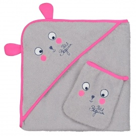 Cape et gant de bain bébé fille Petite Forêt