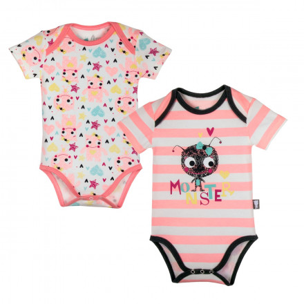 Lot de 2 bodies manches courtes bébé fille Monster
