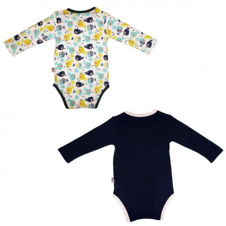 Lot de 2 bodies croisés manches longues bébé garçon Petit Poisson