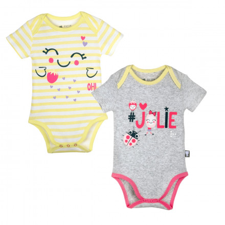 Lot de 2 bodies bébé fille gris & rayé Jolie
