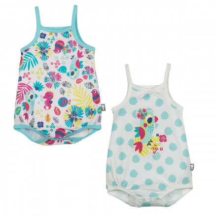 Lot de 2 bodies bébé fille à bretelles Summertime