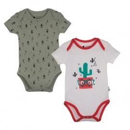 Lot de 2 bodies manches courtes bébé garçon Mister Cactus