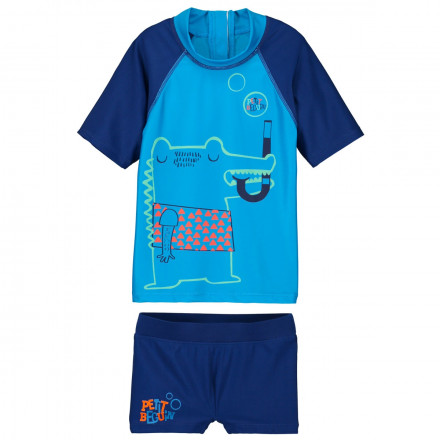 Maillot de bain ANTI-UV 2 pièces t-shirt & slip garçon Crocobulle