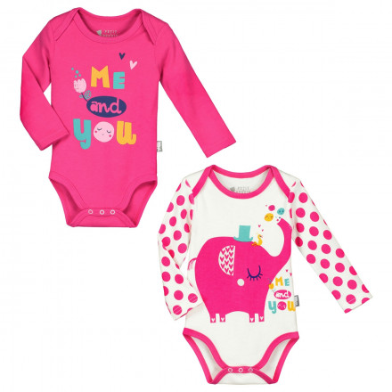 Lot de 2 bodies manches longues bébé fille Me and You