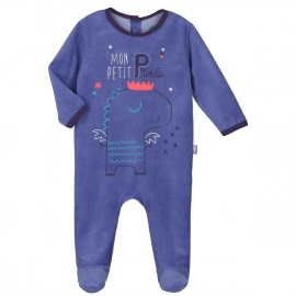 Grenouillère velours bébé garçon Petit Prince