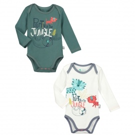 Lot de 2 bodies manches longues bébé garçon Party Jungle