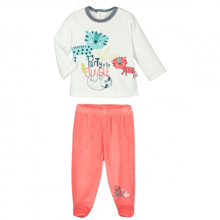 Ensemble velours bébé garçon T-shirt + pantalon Party Jungle