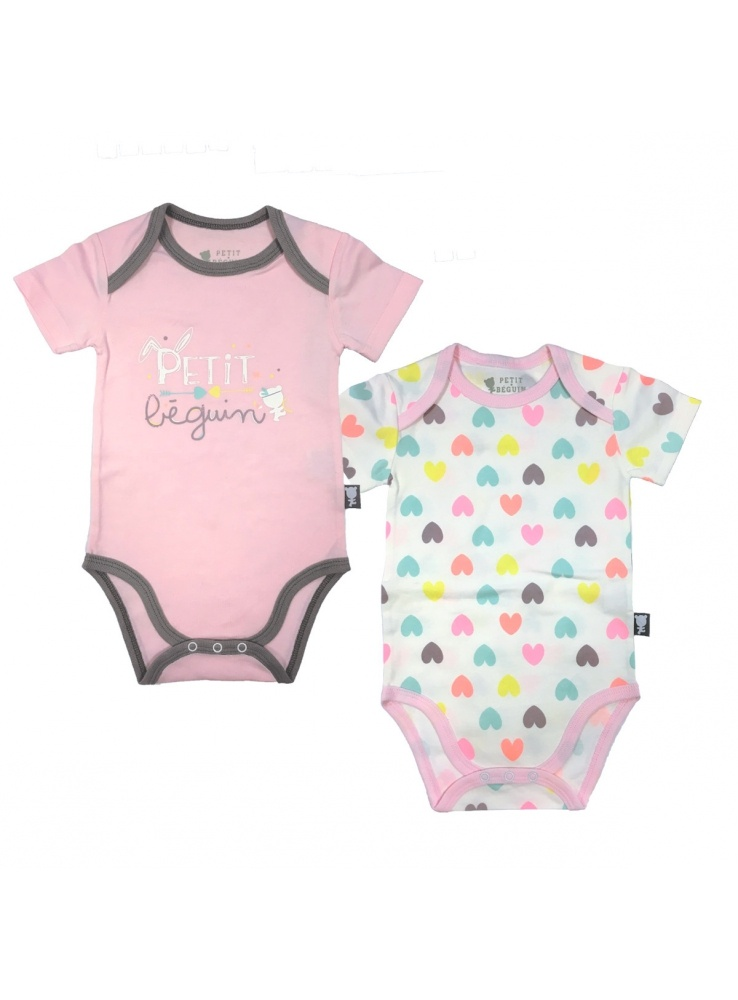 Lot de 2 bodies b b fille manches courtes little bunny - Lot body bebe ...