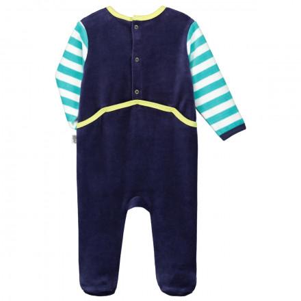 Grenouillère velours bébé garçon bleue Pastille